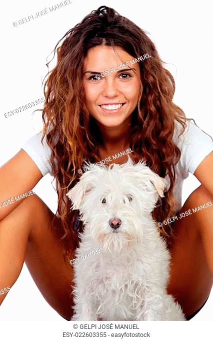 Happy girl with her dog isolated