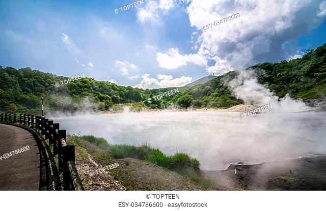 Road side along the Sulfur Hot spring at Oyunuma Lake, Noboribetsu Onsen, Hokkaido, Japan