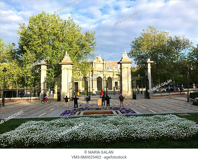 Alcala Gate entrance. The Retiro park, Madrid, Spain
