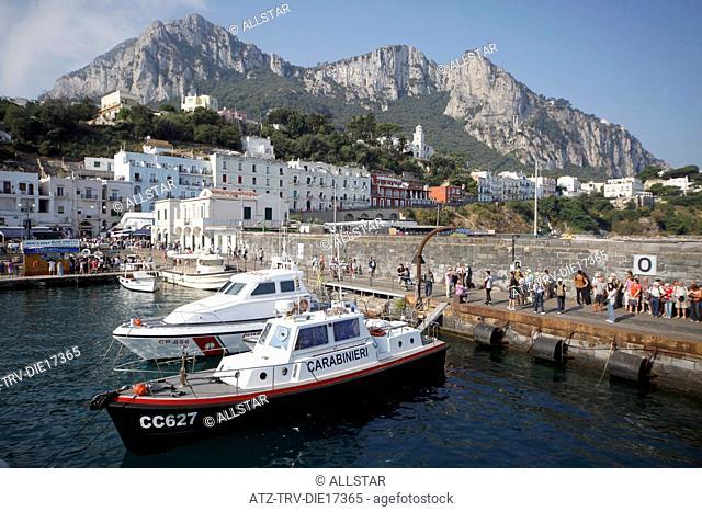 BOATS IN MARINA GRANDE HARBOUR & MOUNTAIN; ISLAND OF CAPRI, ITALY; 17/09/2011