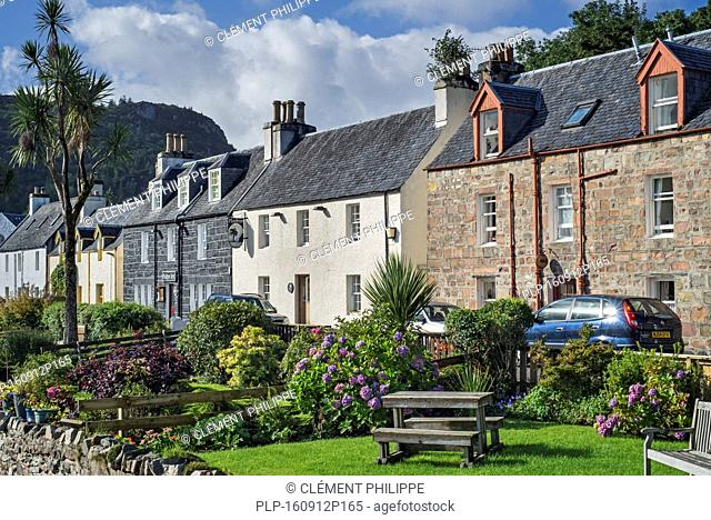 Houses and hotels of the village Plockton along Loch Carron in Wester Ross, Scottish Highlands, Scotland, UK