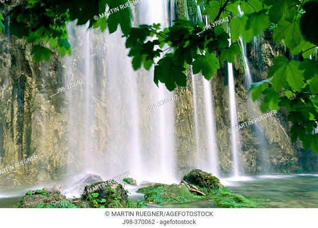 Waterfall in Plitvice National Park. Croatia