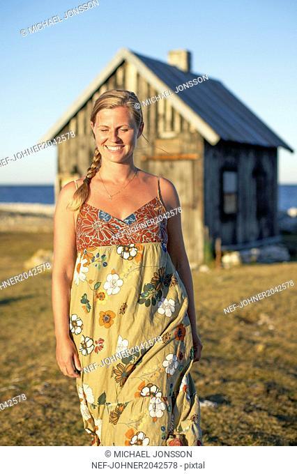 Smiling woman walking