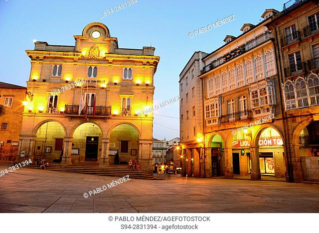 Main square: City Hall of Orense, Spain