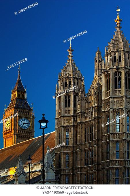 England, Greater London, City of Westminster  The iconic 'Big Ben' also known as the Clock Tower, part of the House of Parliament building also known as the...