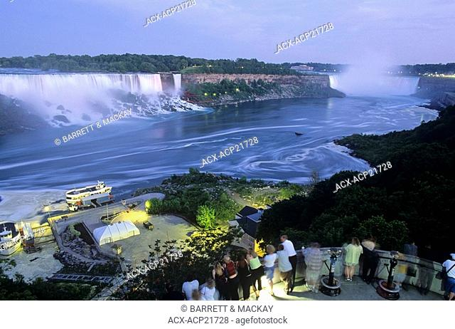 View of bth canadaian and American sides of Niagara falls, Ontario, Canada, ON, People, Geological formation