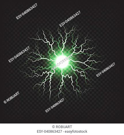 Thunderstorm ball with lights, colorful shiny sparkle in green colors that spread small electric waves isolated vector illustration on dark transparent...