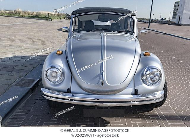 Netherlands, Holland, 2017, A classic grey volkswagen in excellent condition, parked in the seaside resort of Zeeburg
