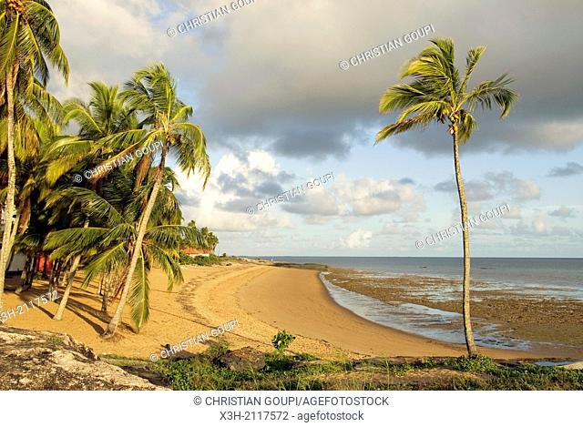 beach at the Pointe des Roches Rock Headland, Kourou, French Guiana, overseas department and region of France, Atlantic coast of South America