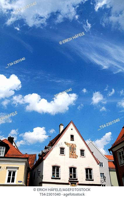Historic houses on the Horse Market in Memmingen, Germany