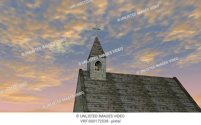Birds flying over church steeple