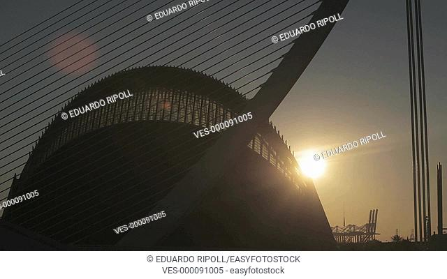 Sunrise with the Agora building by Santiago Calatrava in the background