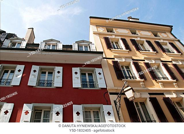 facades in Vevey, town called a pearl of Swiss Riviera  canton Vaud, Lake Geneva shore, Switzerland