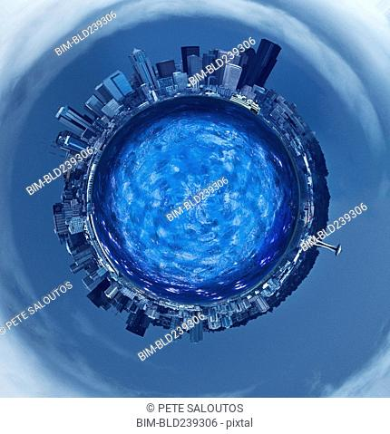 Highrises around blue sphere