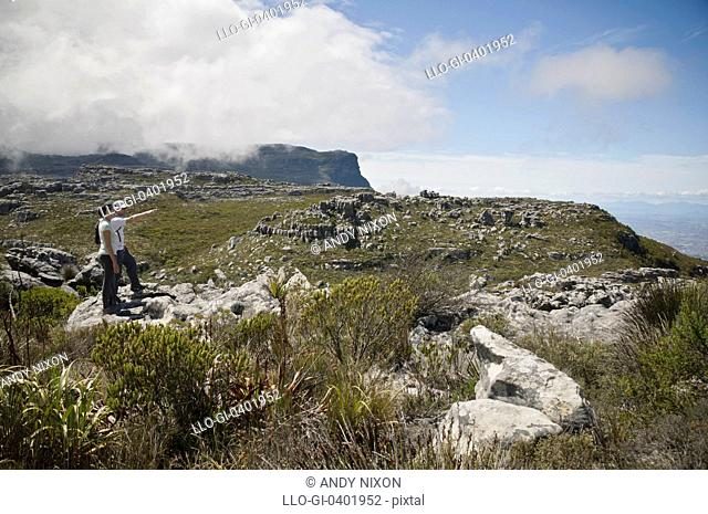 Pair of young adult hikers male and female standing on rock surrounded by fynbos vegetation, pointing at view, clouds covering mountain behind