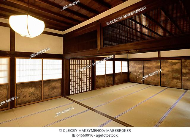 Traditional Japanese interior with tatami mats and painted shoji sliding screens in Sanbo-in, Sanboin Buddhist temple, Daigo-ji temple complex, Fushimi-ku