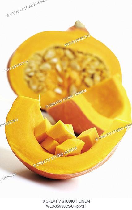 Sliced pumpkin, pumpkin cubes