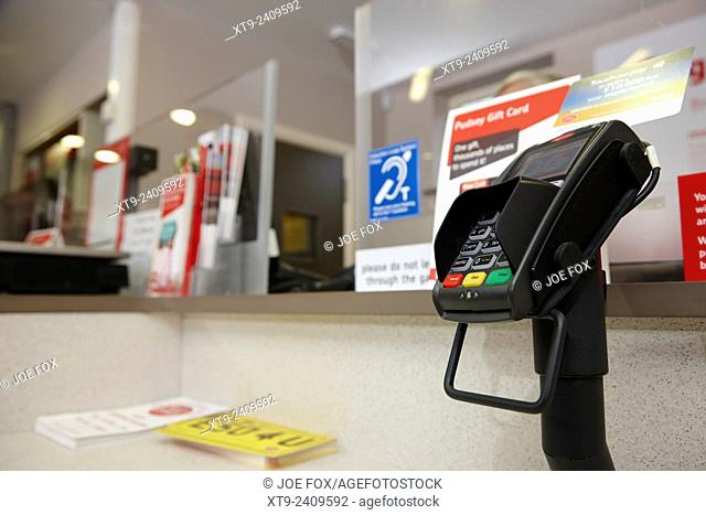 chip and pin card reader at a post office counter in the UK