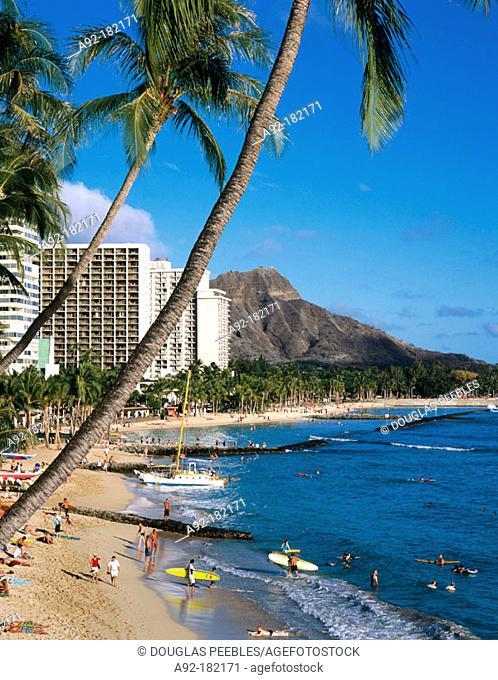 Waikiki Beach with Diamond Head in background. Hawaii. USA