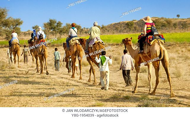 Camel caravan safari ride with tourists in Thar Desert near Jaisalmer, India