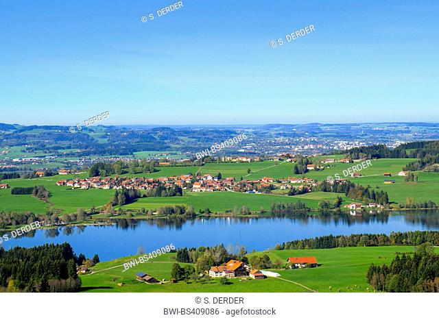 view over lake Rottachsee to Kempten, Germany, Bavaria, Algaeu