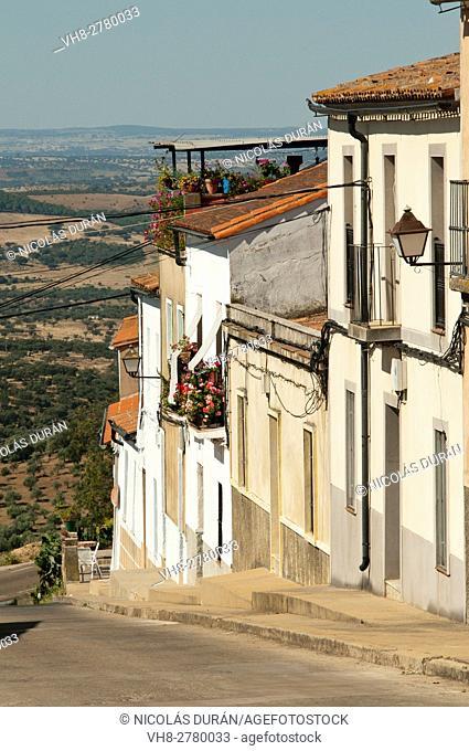 Tipical street in Alburquerque village, Badajoz Province, Extremadura, Spain