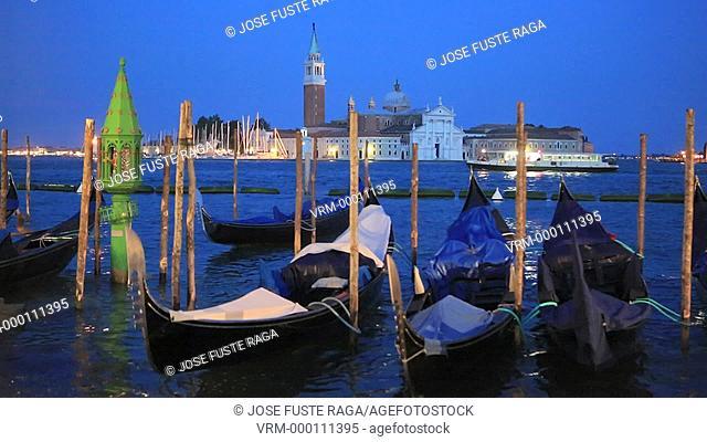 Italy , Venezia City , gondolas, san Giorgio island, evening