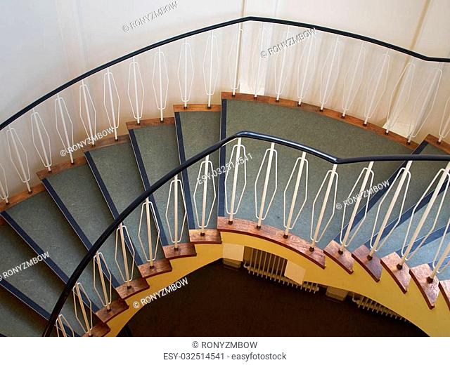 Downside view of a spiral staircase classical desgin architecture element