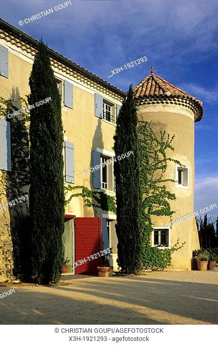 Domaine de La Ponche, Provencal estate at Vacqueras, Vaucluse department, Provence-Alpes-Cote d'Azur region, southeast of France, Europe