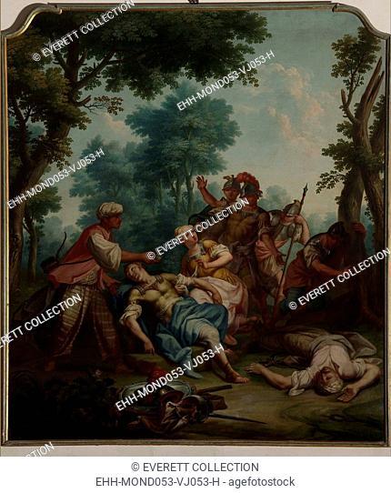 Italy, Veneto, Vicenza, Montecchio Maggiore, Villa Lombardi Cordellina. Whole artwork view. Hermine approaching Tancred's wounded body