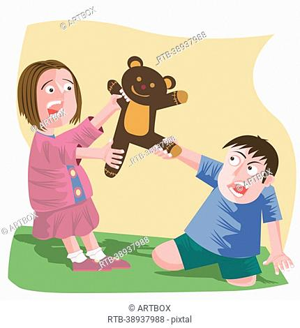 Girl and a boy fighting for a teddy bear