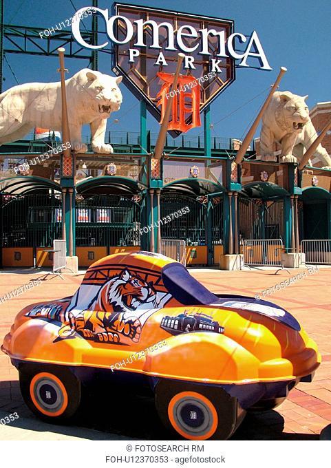 Detroit, MI, Michigan, Motor City, Comerica Park, Stadium, Detroit Tigers, MLB, Baseball, CarTunes on Parade tiger car sculpture