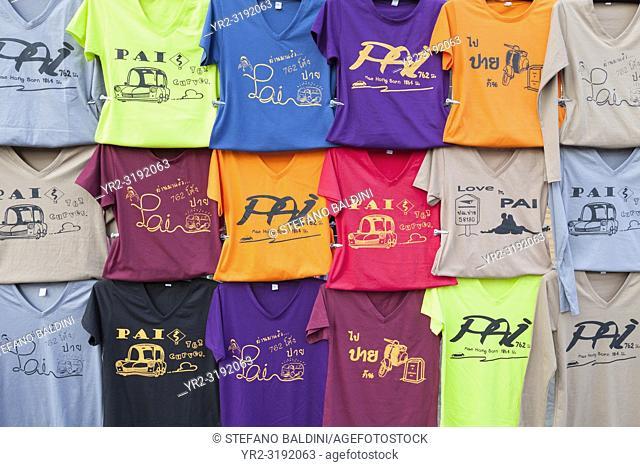 Pai t-shirts display, Pai, Thailand