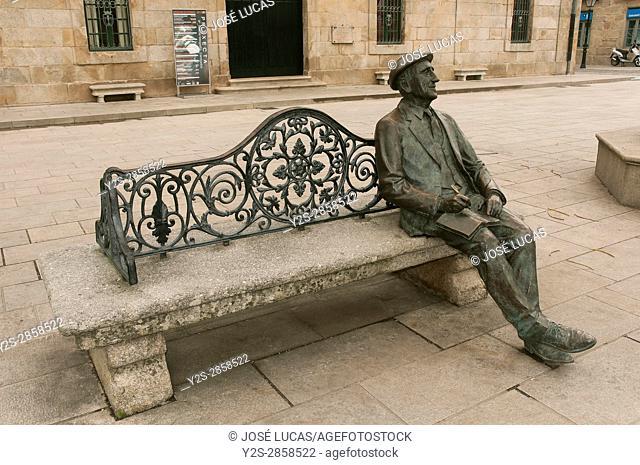 Monument to the galician writer Ramon Cabanillas, Cambados, Pontevedra province, Region of Galicia, Spain, Europe