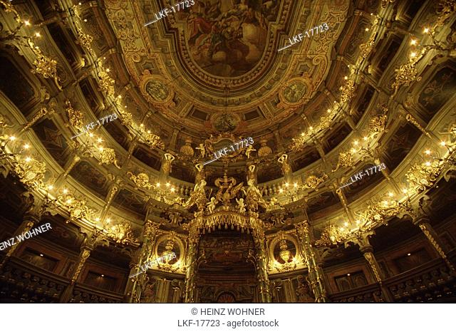Interior view of the Markgraefliches opera house, Margravial opera house, Bayreuth, Bavaria, Germany, Europe