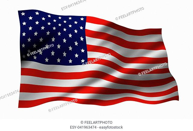 USA or America flag isolated on white background