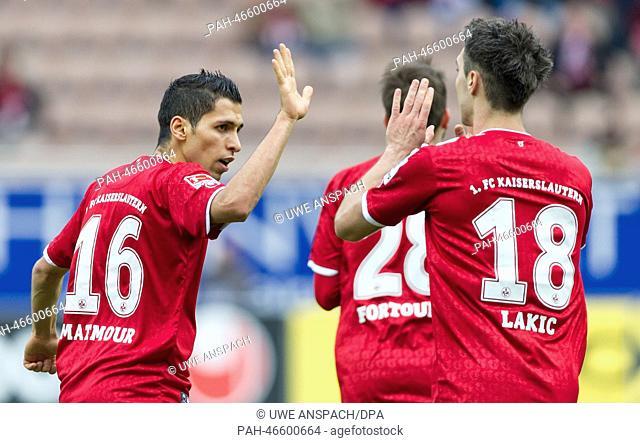 Kaiserslautern's Karim Matmour celebrates his 1-2 goal during the second league match between FCKaiserslautern and VfR Aalen at Fritz-Walter-Stadium in...