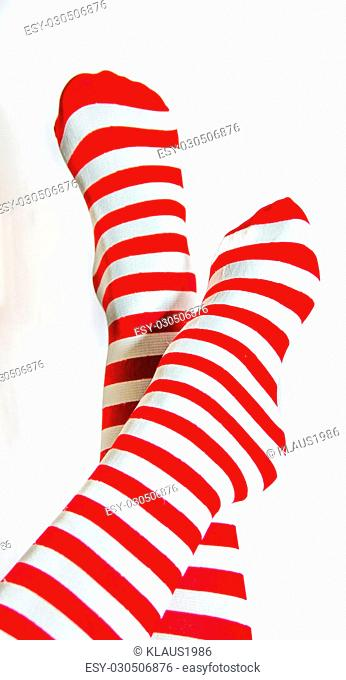 Red and white stripes socks isolated in white backgroud