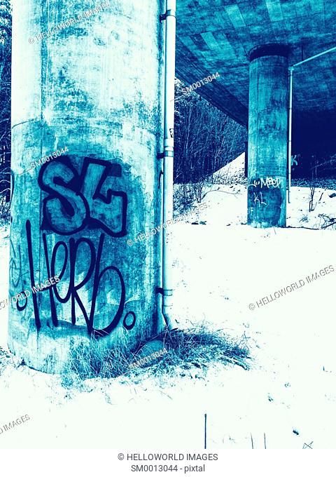 Graffiti beneath overpass, Sweden, Scandinavia