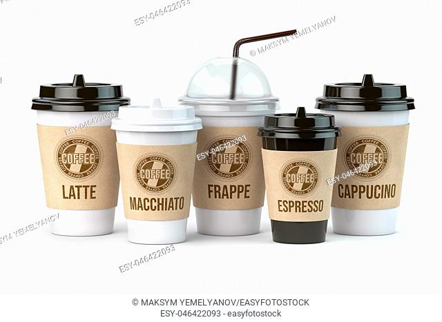 Differnt types of coffee such as latte, grappe, espresso and cappucino isolated on white background. Set of coffee paper cups. 3d illustration