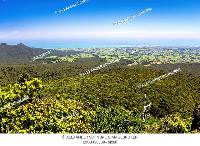 View from the Pouakai Hut of New Plymouth, Egmont National Park, Taranaki Region, New Zealand