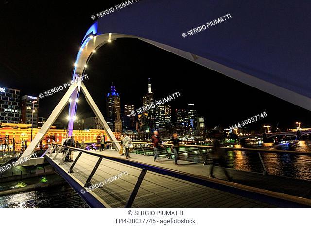 Australia, Docklands, Melbourne, Seafarers Bridge, South Wharf, Southbank, Victoria, Yarra River, footbridge, skyline