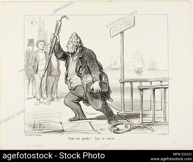 """""""All is lost - save the cashbox"""" - 1848 - Honoré Victorin Daumier French, 1808-1879 - Artist: Honoré-Victorin Daumier, Origin: France, Date: 1848"""