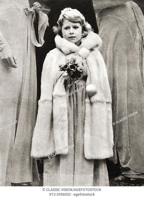 Princess Elizabeth of York, seen here as a bridesmaid at the wedding of Lady May Cambridge in 1931. Princess Elizabeth of York, future Elizabeth II, born 1926