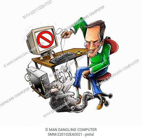 Man dangling computer mouse over cat
