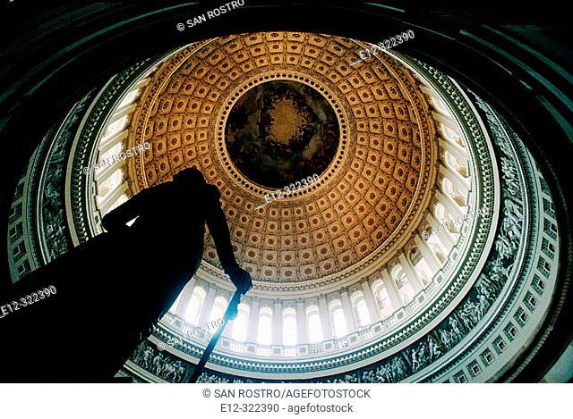 Statue of George Washington under the dome of teh Capitol. Washington D.C. USA