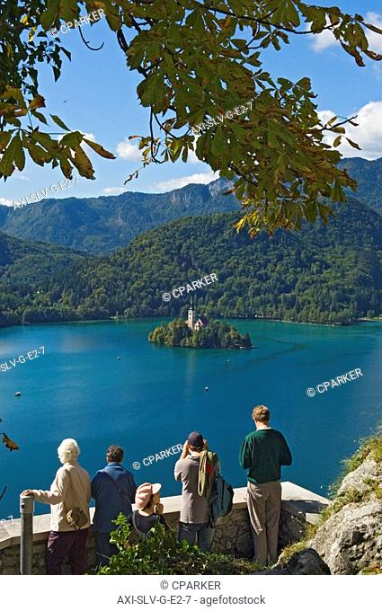 Tourists looking at Lake Bled from castle, Slovenia