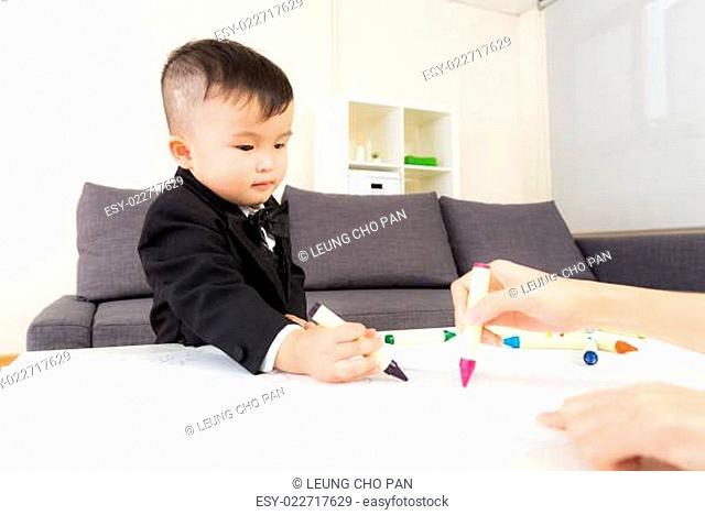 Aisa baby boy drawing at home