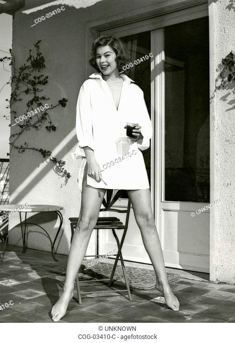 The aspiring actress Ilsa Petersen wearing only a white shirt