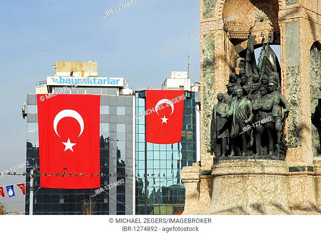 Ataturk monument and national flag at the annual festival of the Republic on October 29th, Taksim Square, Taksim Cumhuriyet Abidesi, Istanbul, Turkey